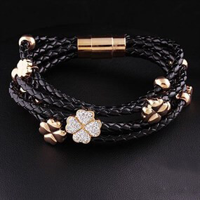 Braided Bracelet with Clover Charms