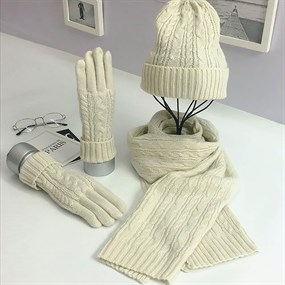 3 in 1 Knitted Hat Scarf & Gloves Set - white