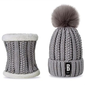 2 Pcs Hat and Scarf Set - grey